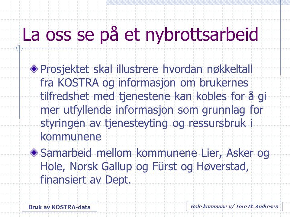 Bruk av KOSTRA-data Hole kommune v/ Tore M. Andresen La oss se på et nybrottsarbeid Prosjektet skal illustrere hvordan nøkkeltall fra KOSTRA og inform