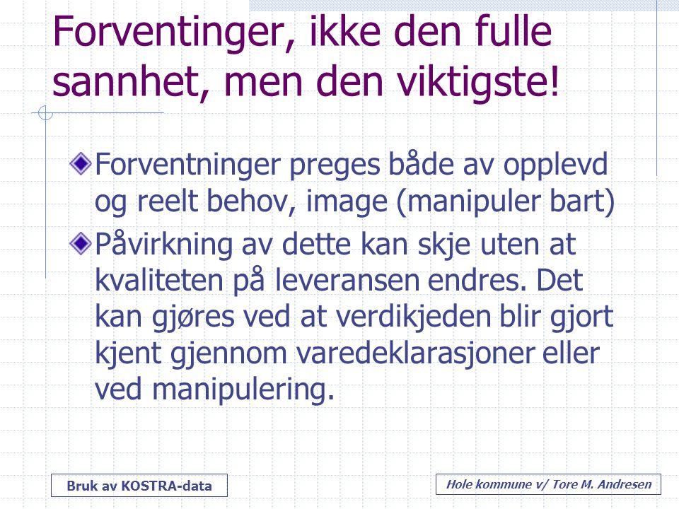 Bruk av KOSTRA-data Hole kommune v/ Tore M. Andresen Forventinger, ikke den fulle sannhet, men den viktigste! Forventninger preges både av opplevd og