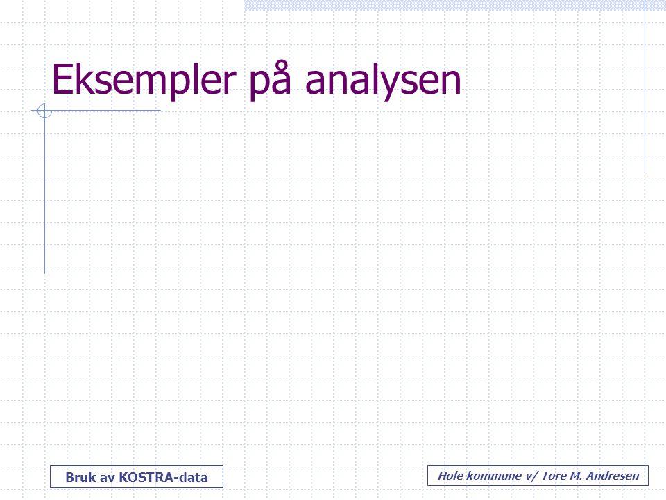 Bruk av KOSTRA-data Hole kommune v/ Tore M. Andresen Eksempler på analysen