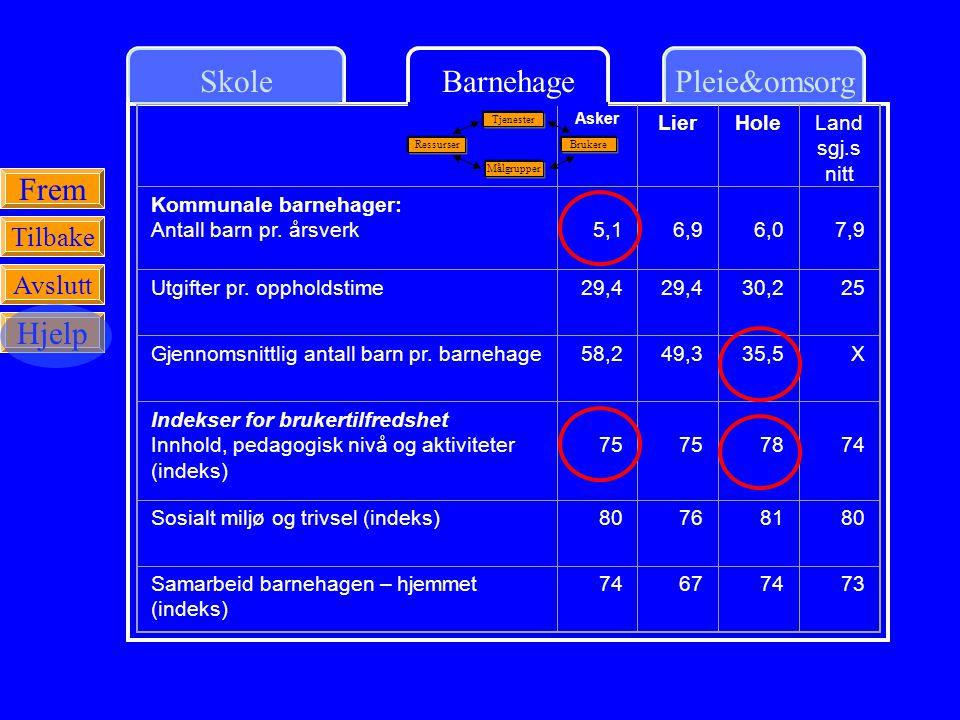 SkolePleie&omsorgBarnehage Frem Tilbake Avslutt Hjelp Asker LierHoleLand sgj.s nitt Kommunale barnehager: Antall barn pr. årsverk 5,1 6,9 6,0 7,9 Utgi