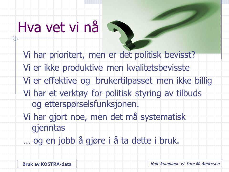 Bruk av KOSTRA-data Hole kommune v/ Tore M. Andresen Hva vet vi nå Vi har prioritert, men er det politisk bevisst? Vi er ikke produktive men kvalitets