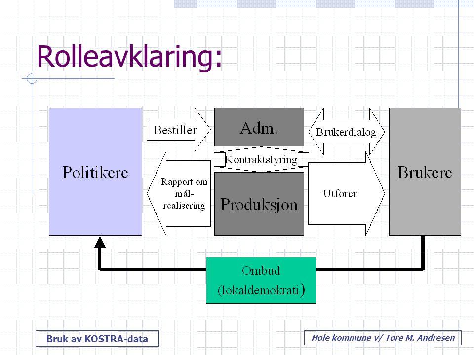 Bruk av KOSTRA-data Hole kommune v/ Tore M. Andresen Rolleavklaring: