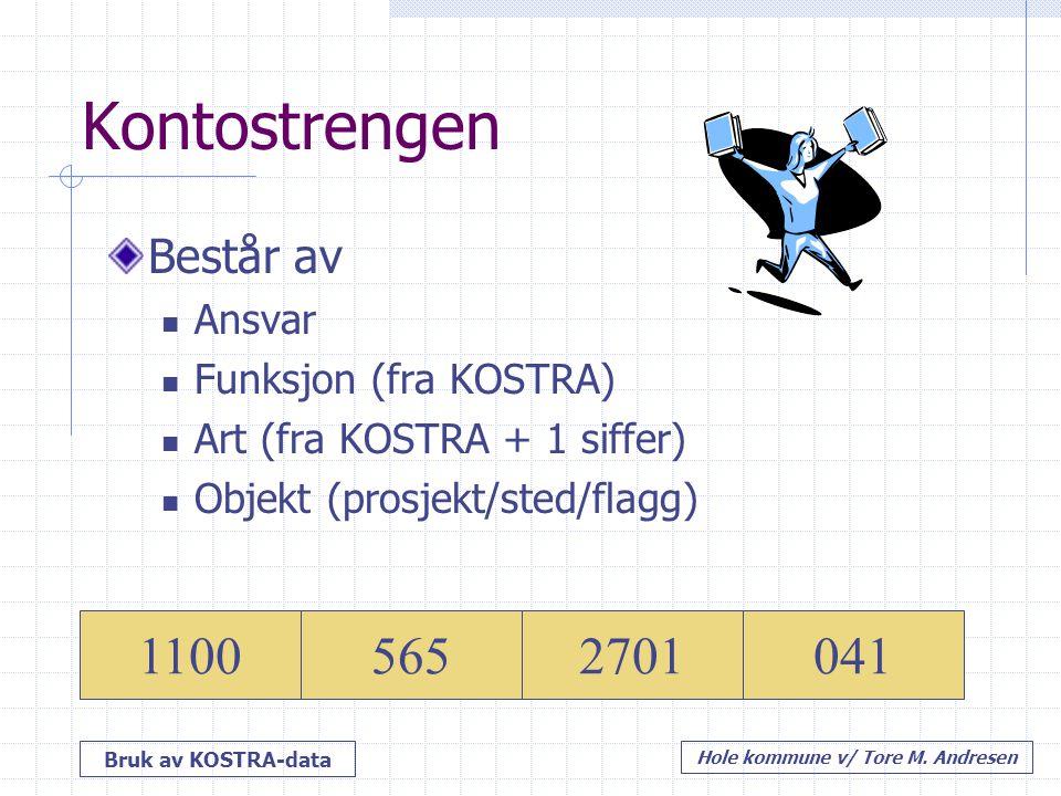 Bruk av KOSTRA-data Hole kommune v/ Tore M. Andresen Kontostrengen Består av Ansvar Funksjon (fra KOSTRA) Art (fra KOSTRA + 1 siffer) Objekt (prosjekt