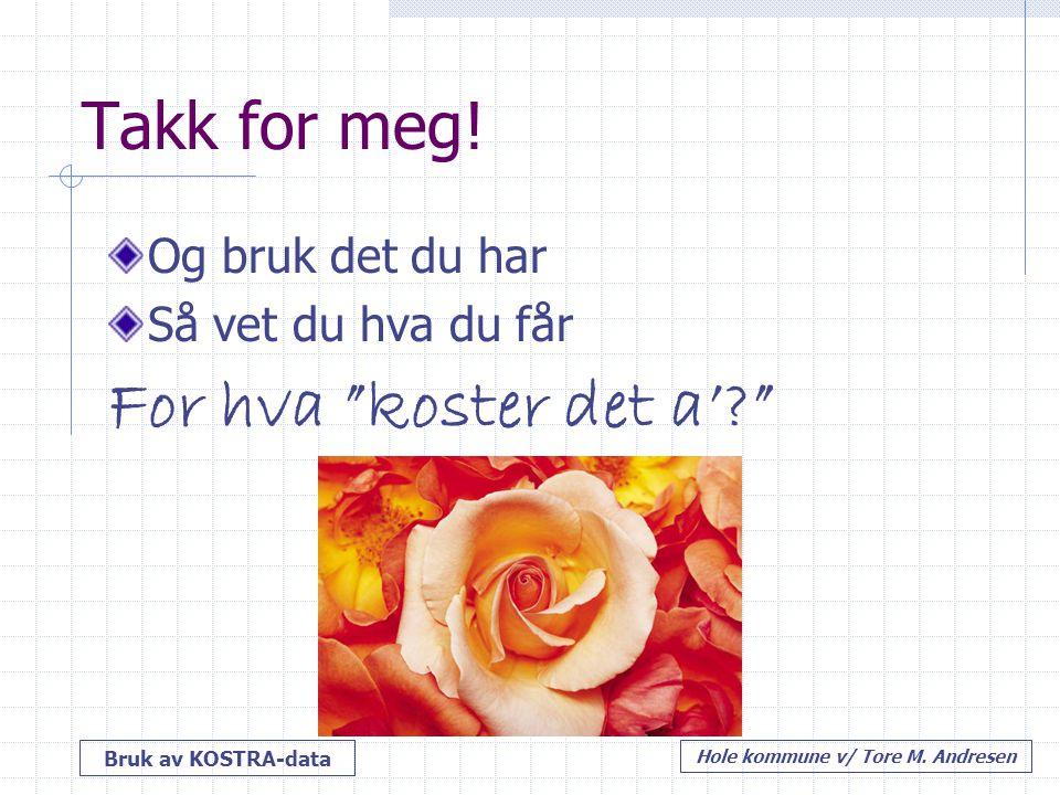 """Bruk av KOSTRA-data Hole kommune v/ Tore M. Andresen Takk for meg! Og bruk det du har Så vet du hva du får For hva """"koster det a'?"""""""