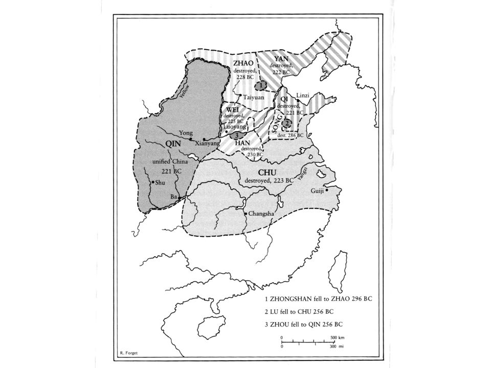 Kart over Kina på 200-tallet fvt