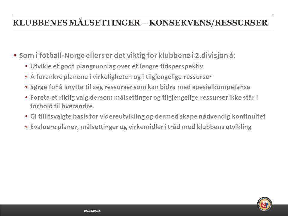 20.11.2014 KLUBBENES MÅLSETTINGER – KONSEKVENS/RESSURSER Som i fotball-Norge ellers er det viktig for klubbene i 2.divisjon å: Utvikle et godt plangru