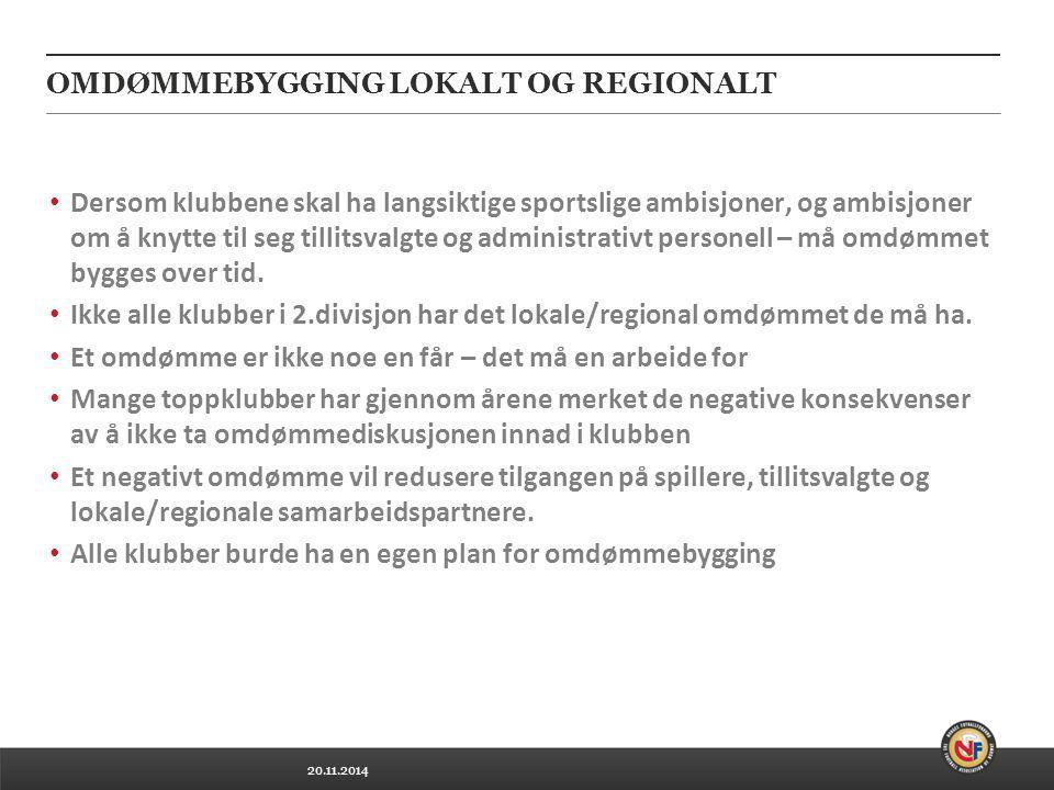 20.11.2014 OMDØMMEBYGGING LOKALT OG REGIONALT Dersom klubbene skal ha langsiktige sportslige ambisjoner, og ambisjoner om å knytte til seg tillitsvalg