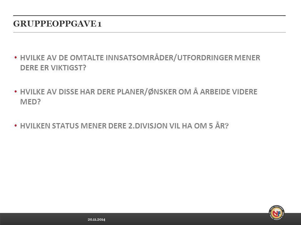 20.11.2014 GRUPPEOPPGAVE 1 HVILKE AV DE OMTALTE INNSATSOMRÅDER/UTFORDRINGER MENER DERE ER VIKTIGST.
