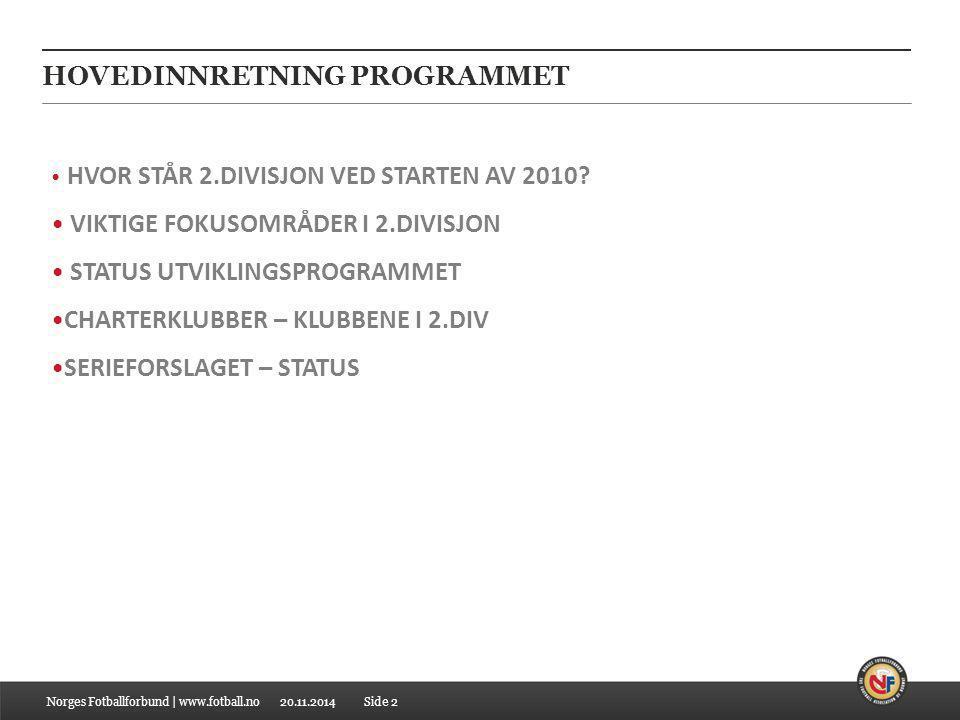 20.11.2014 HOVEDINNRETNING PROGRAMMET Norges Fotballforbund | www.fotball.no HVOR STÅR 2.DIVISJON VED STARTEN AV 2010? VIKTIGE FOKUSOMRÅDER I 2.DIVISJ