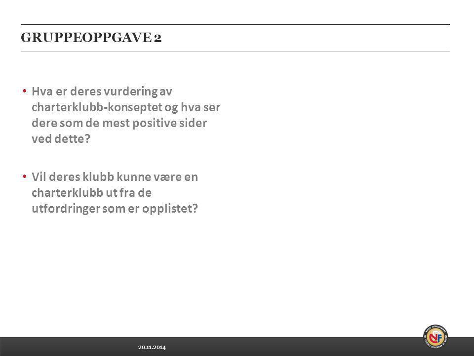 20.11.2014 GRUPPEOPPGAVE 2 Hva er deres vurdering av charterklubb-konseptet og hva ser dere som de mest positive sider ved dette? Vil deres klubb kunn