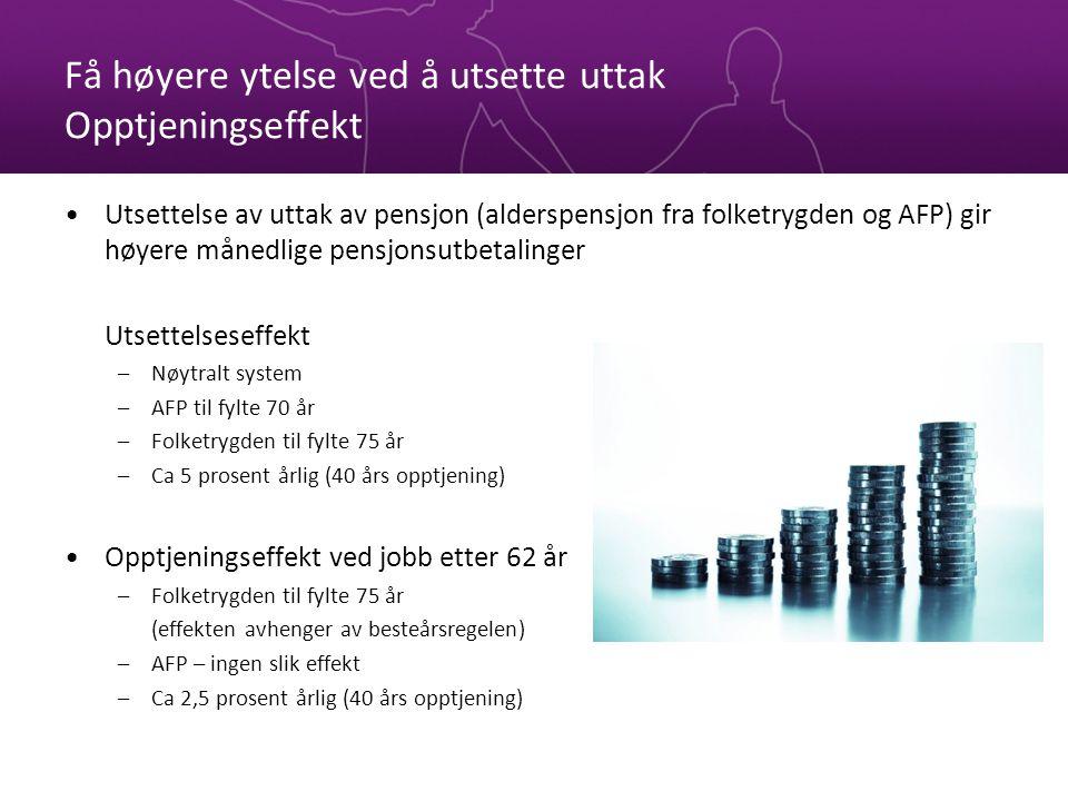 Få høyere ytelse ved å utsette uttak Opptjeningseffekt Utsettelse av uttak av pensjon (alderspensjon fra folketrygden og AFP) gir høyere månedlige pen