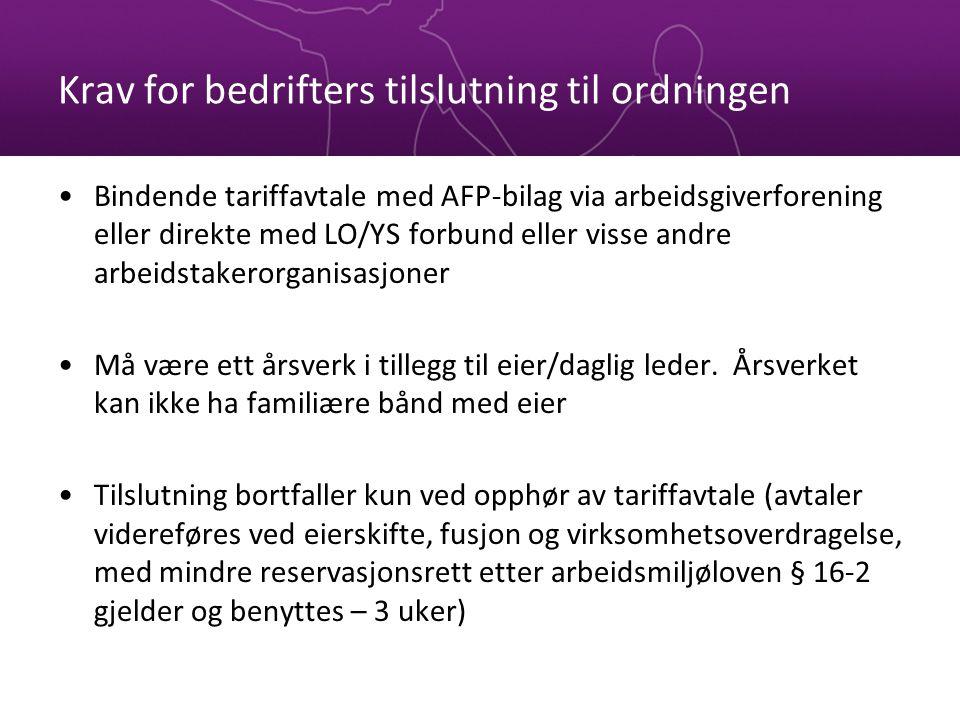 Krav for bedrifters tilslutning til ordningen Bindende tariffavtale med AFP-bilag via arbeidsgiverforening eller direkte med LO/YS forbund eller visse
