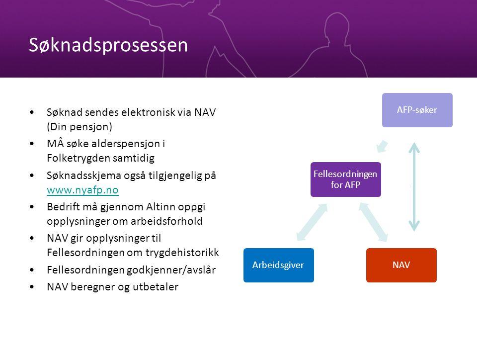 Søknadsprosessen Søknad sendes elektronisk via NAV (Din pensjon) MÅ søke alderspensjon i Folketrygden samtidig Søknadsskjema også tilgjengelig på www.