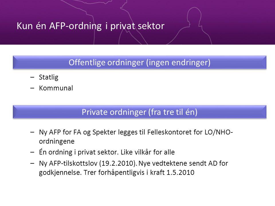 Kun én AFP-ordning i privat sektor –Statlig –Kommunal –Ny AFP for FA og Spekter legges til Felleskontoret for LO/NHO- ordningene –Én ordning i privat