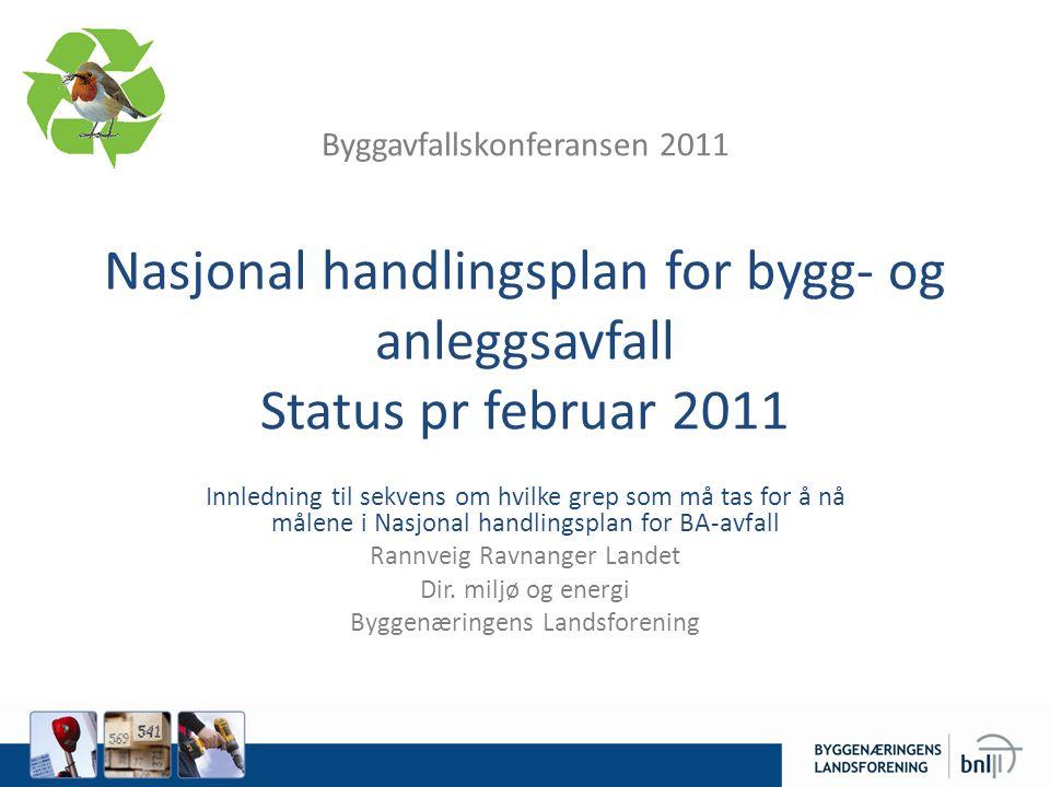 Byggavfallskonferansen 2011 Nasjonal handlingsplan for bygg- og anleggsavfall Status pr februar 2011 Innledning til sekvens om hvilke grep som må tas for å nå målene i Nasjonal handlingsplan for BA-avfall Rannveig Ravnanger Landet Dir.