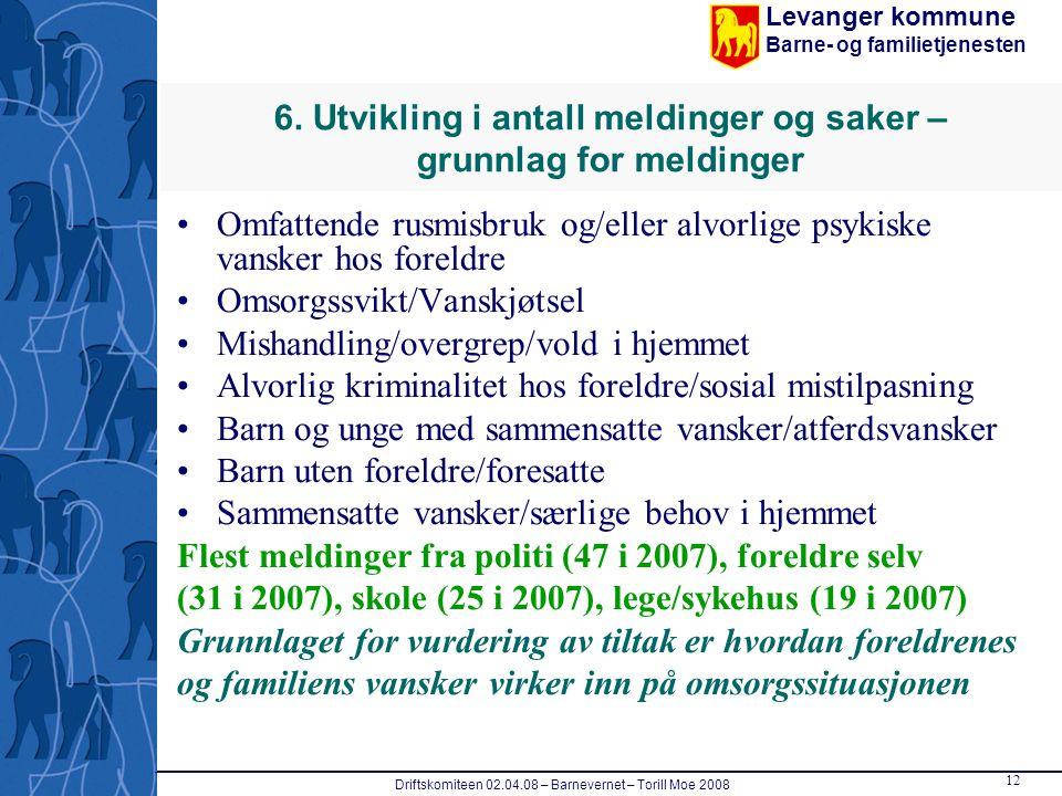 Levanger kommune Barne- og familietjenesten Driftskomiteen 02.04.08 – Barnevernet – Torill Moe 2008 12 6. Utvikling i antall meldinger og saker – grun