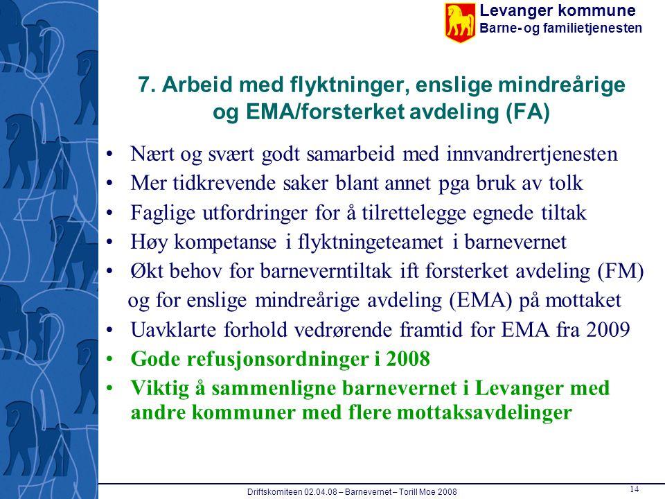 Levanger kommune Barne- og familietjenesten Driftskomiteen 02.04.08 – Barnevernet – Torill Moe 2008 14 7. Arbeid med flyktninger, enslige mindreårige
