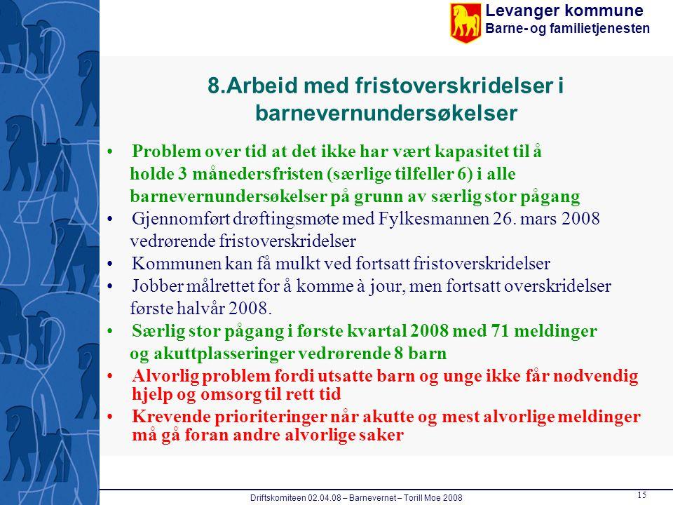 Levanger kommune Barne- og familietjenesten Driftskomiteen 02.04.08 – Barnevernet – Torill Moe 2008 15 8.Arbeid med fristoverskridelser i barnevernund