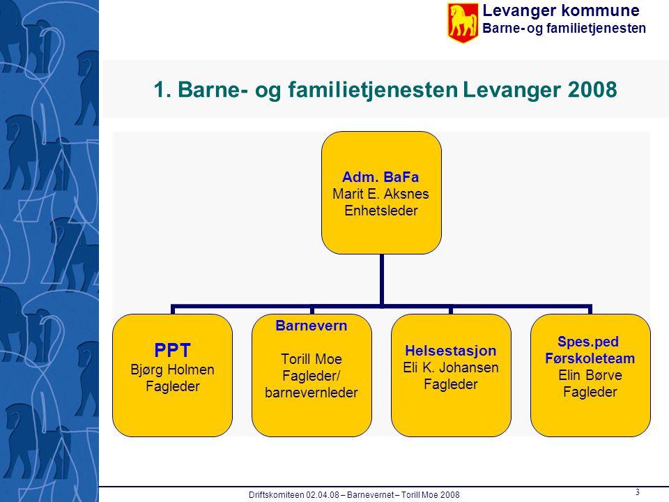 Levanger kommune Barne- og familietjenesten Driftskomiteen 02.04.08 – Barnevernet – Torill Moe 2008 3 1. Barne- og familietjenesten Levanger 2008 Adm.