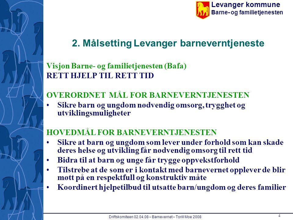 Levanger kommune Barne- og familietjenesten Driftskomiteen 02.04.08 – Barnevernet – Torill Moe 2008 4 2. Målsetting Levanger barneverntjeneste Visjon