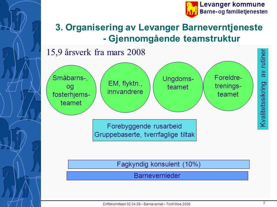 Levanger kommune Barne- og familietjenesten Driftskomiteen 02.04.08 – Barnevernet – Torill Moe 2008 5 3. Organisering av Levanger Barneverntjeneste -