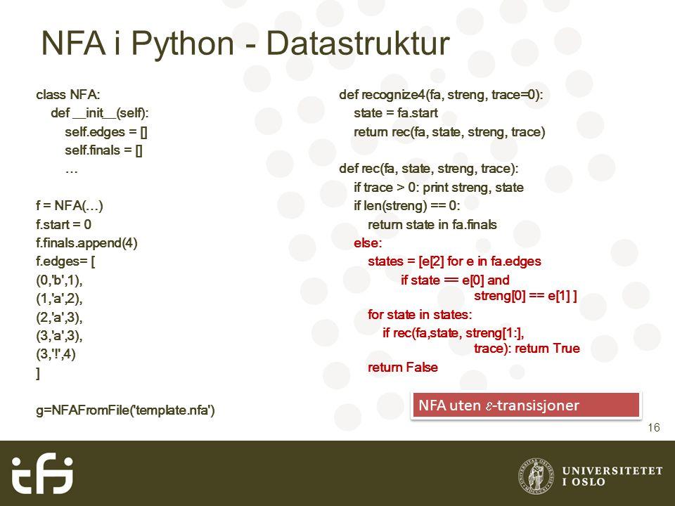 NFA i Python - Datastruktur 16 def recognize4(fa, streng, trace=0): state = fa.start return rec(fa, state, streng, trace) def rec(fa, state, streng, t
