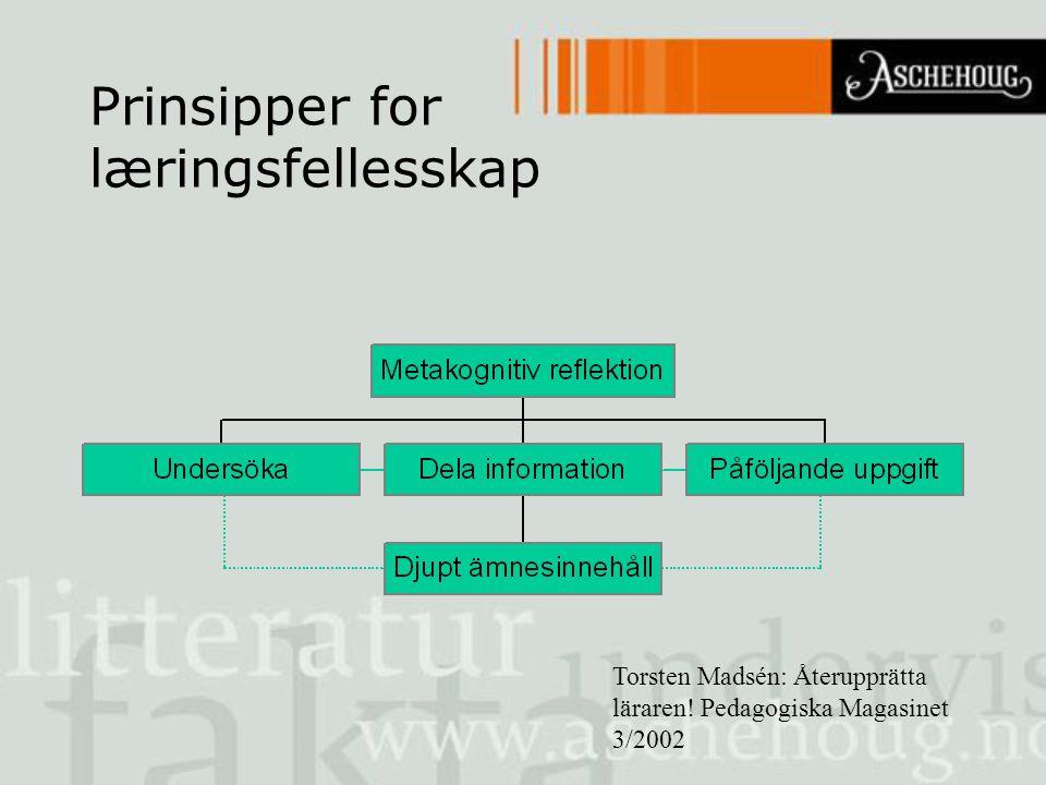 Prinsipper for læringsfellesskap Torsten Madsén: Återupprätta läraren! Pedagogiska Magasinet 3/2002