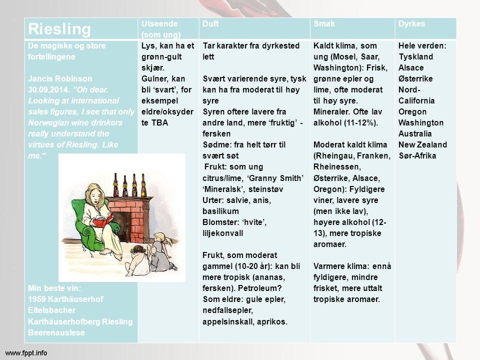 Riesling Utseende (som ung) DuftSmakDyrkes De magiske og store fortellingene Jancis Robinson 30.09.2014.