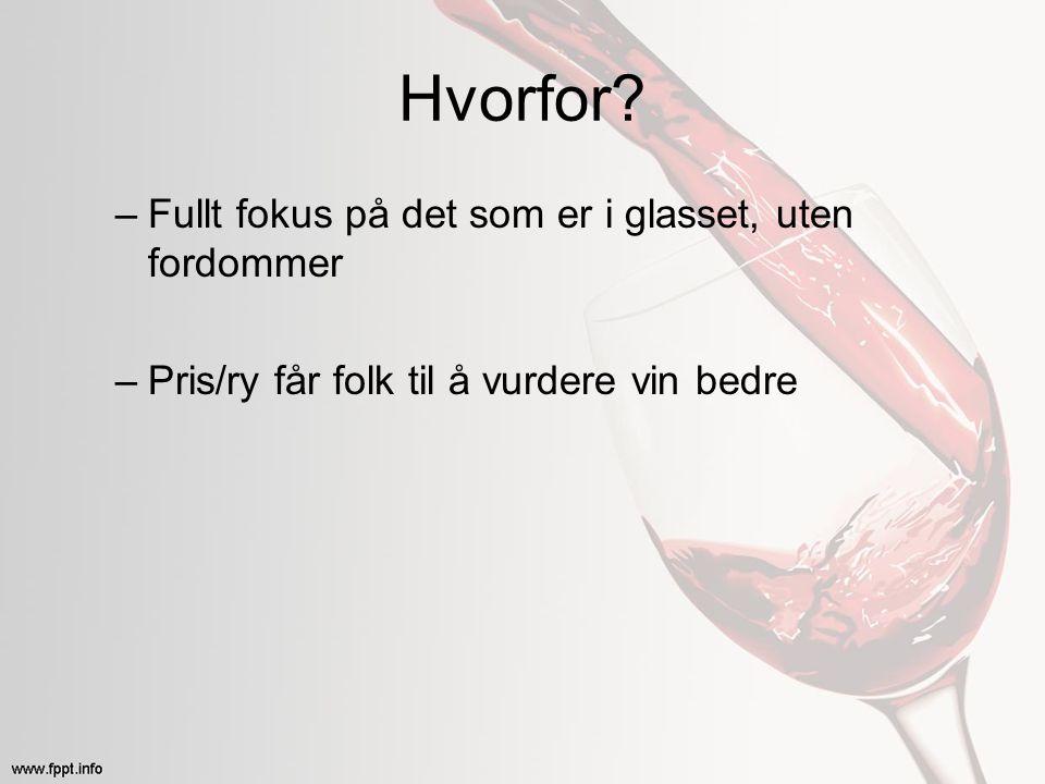Hvorfor? –Fullt fokus på det som er i glasset, uten fordommer –Pris/ry får folk til å vurdere vin bedre