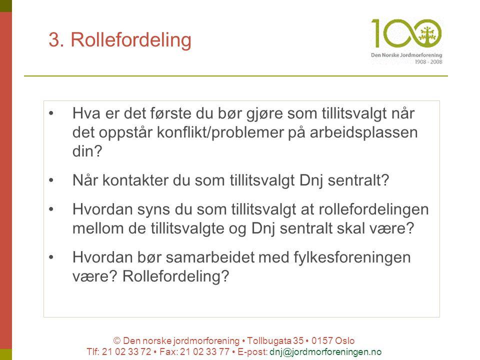 © Den norske jordmorforening Tollbugata 35 0157 Oslo Tlf: 21 02 33 72 Fax: 21 02 33 77 E-post: dnj@jordmorforeningen.no 3. Rollefordeling Hva er det f