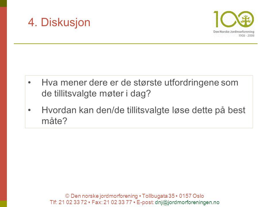© Den norske jordmorforening Tollbugata 35 0157 Oslo Tlf: 21 02 33 72 Fax: 21 02 33 77 E-post: dnj@jordmorforeningen.no 4. Diskusjon Hva mener dere er
