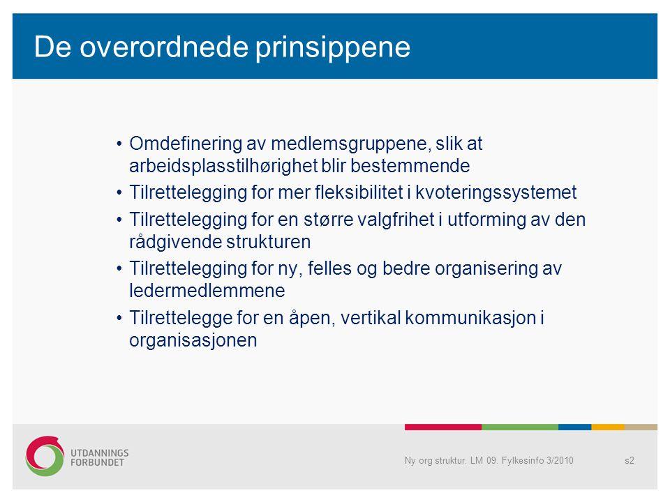 De overordnede prinsippene Omdefinering av medlemsgruppene, slik at arbeidsplasstilhørighet blir bestemmende Tilrettelegging for mer fleksibilitet i k