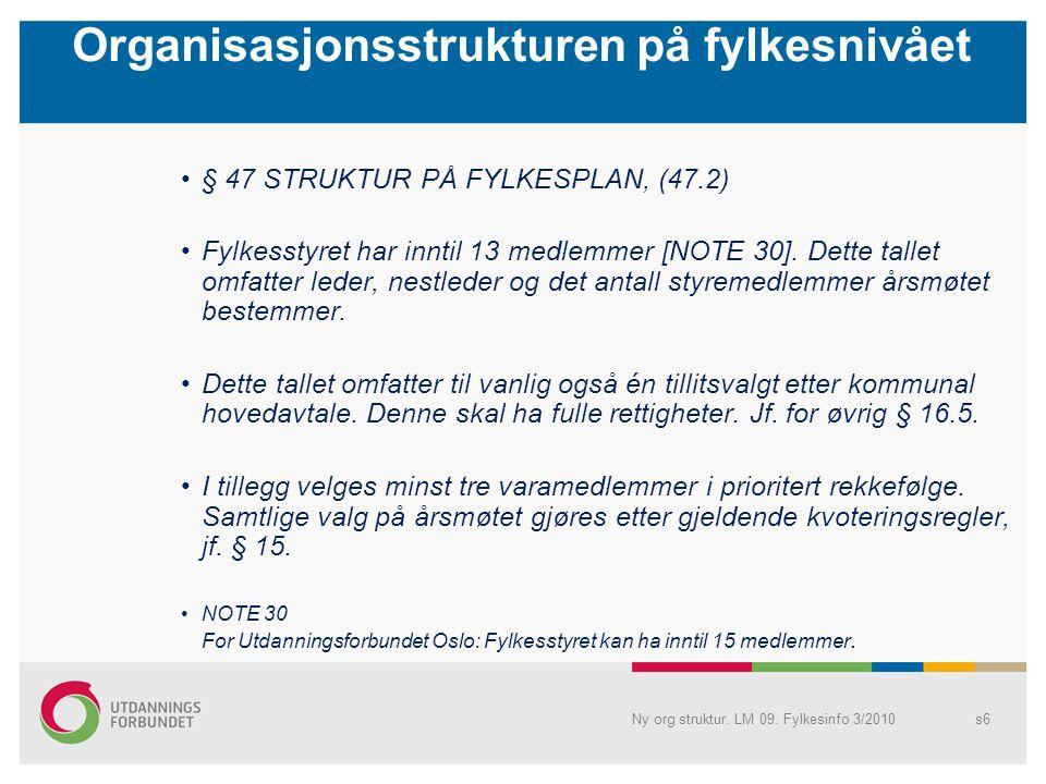 Organisasjonsstrukturen på fylkesnivået § 47 STRUKTUR PÅ FYLKESPLAN, (47.2) Fylkesstyret har inntil 13 medlemmer [NOTE 30]. Dette tallet omfatter lede