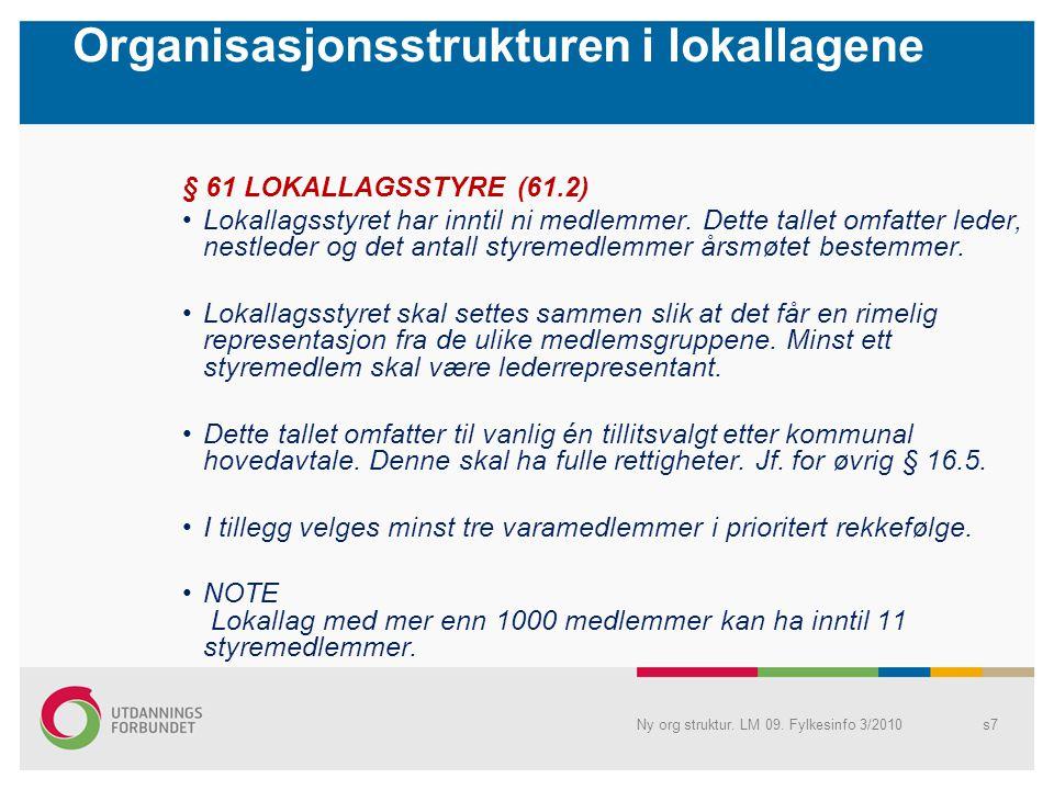 Organisasjonsstrukturen i lokallagene § 61 LOKALLAGSSTYRE (61.2) Lokallagsstyret har inntil ni medlemmer. Dette tallet omfatter leder, nestleder og de