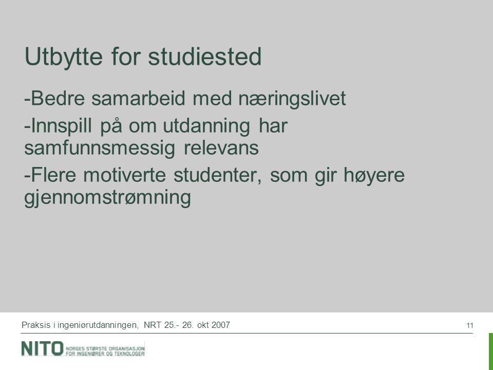 11 Praksis i ingeniørutdanningen, NRT 25.- 26. okt 2007 Utbytte for studiested -Bedre samarbeid med næringslivet -Innspill på om utdanning har samfunn