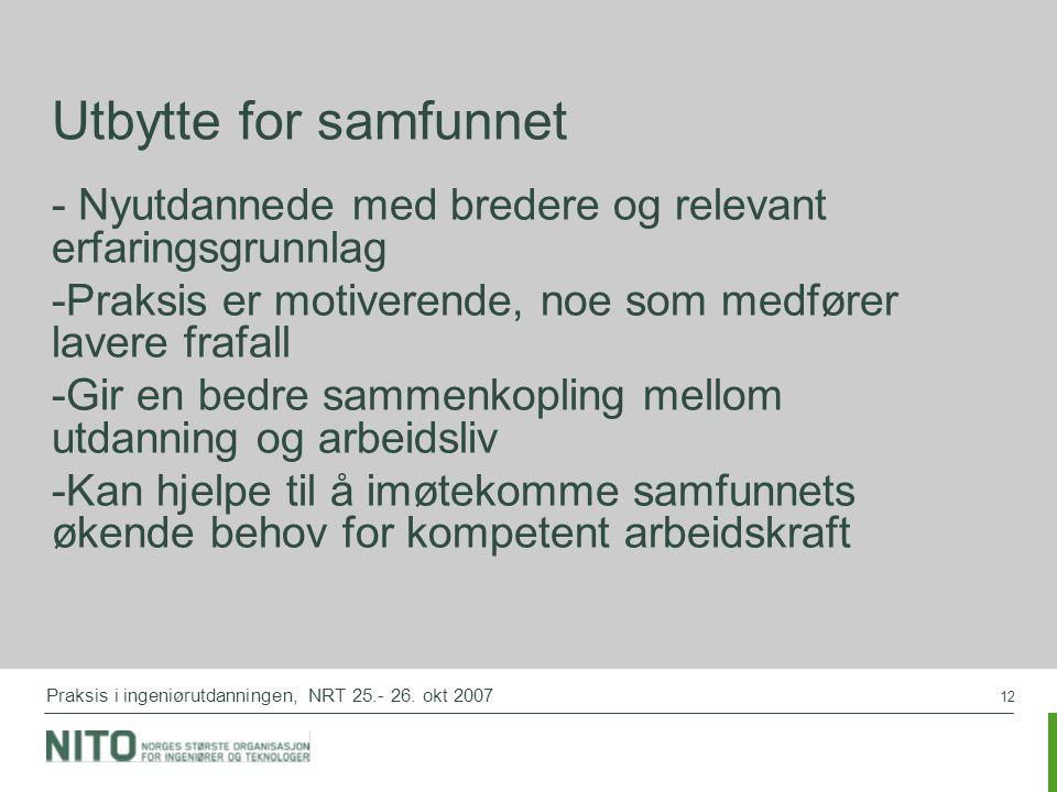 12 Praksis i ingeniørutdanningen, NRT 25.- 26.