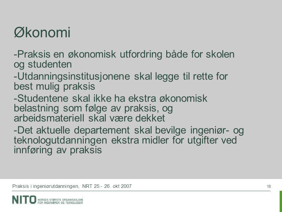 18 Praksis i ingeniørutdanningen, NRT 25.- 26.