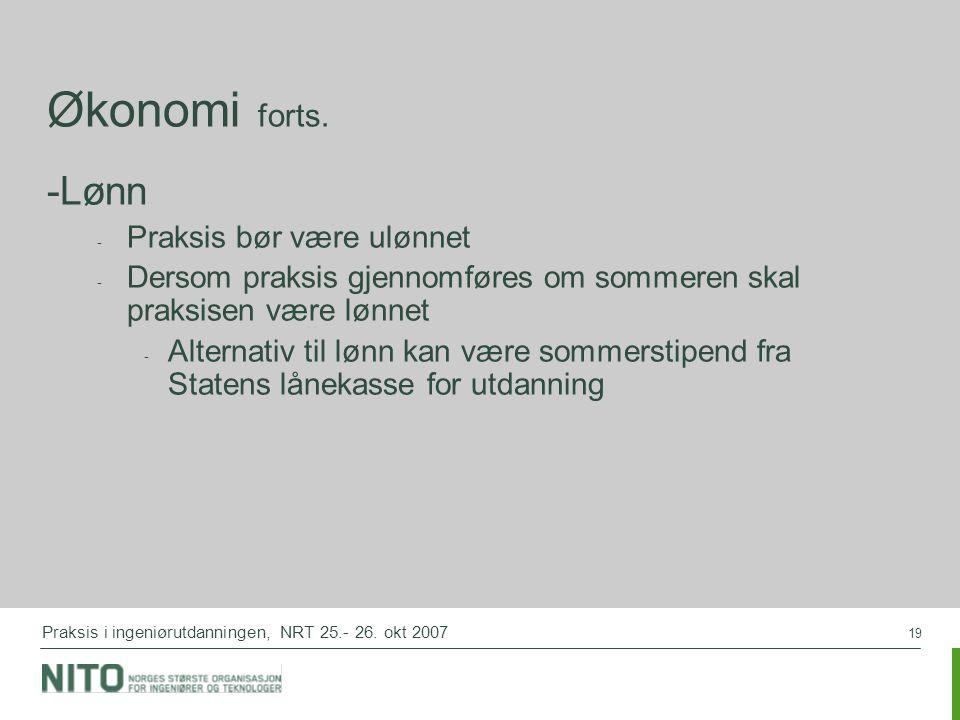 19 Praksis i ingeniørutdanningen, NRT 25.- 26. okt 2007 Økonomi forts.