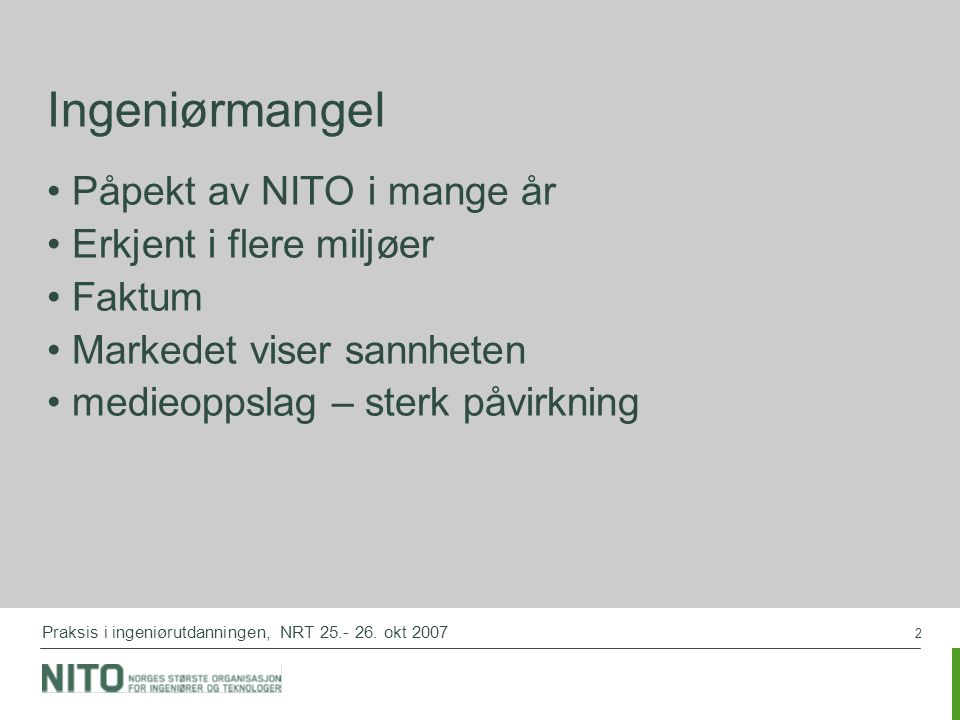 2 Praksis i ingeniørutdanningen, NRT 25.- 26.