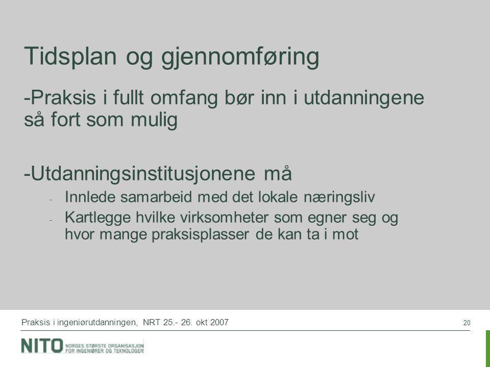 20 Praksis i ingeniørutdanningen, NRT 25.- 26.