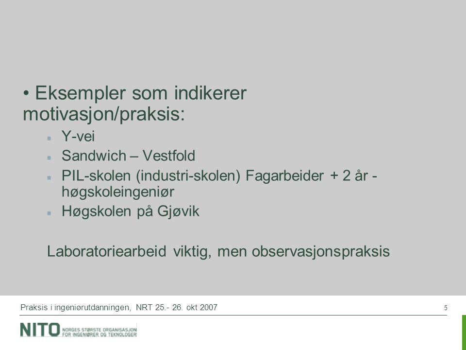 5 Praksis i ingeniørutdanningen, NRT 25.- 26. okt 2007 Eksempler som indikerer motivasjon/praksis: Y-vei Sandwich – Vestfold PIL-skolen (industri-skol