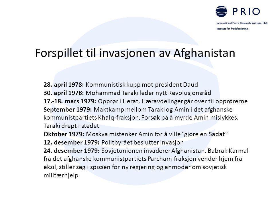 Forspillet til invasjonen av Afghanistan 28. april 1978: Kommunistisk kupp mot president Daud 30. april 1978: Mohammad Taraki leder nytt Revolusjonsrå