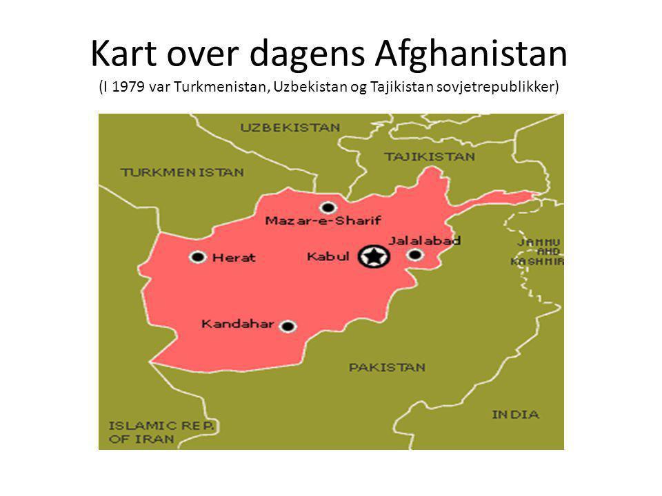 Kart over dagens Afghanistan (I 1979 var Turkmenistan, Uzbekistan og Tajikistan sovjetrepublikker)