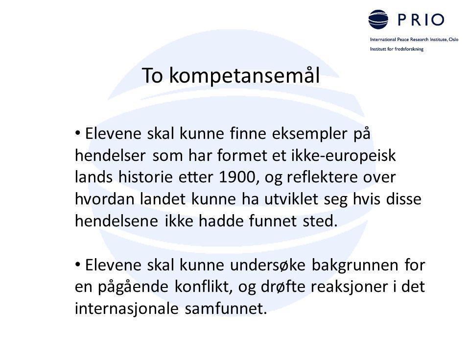To kompetansemål Elevene skal kunne finne eksempler på hendelser som har formet et ikke-europeisk lands historie etter 1900, og reflektere over hvorda