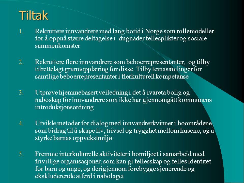 Tiltak 1. Rekruttere innvandrere med lang botid i Norge som rollemodeller for å oppnå større deltagelse i dugnader fellesplikter og sosiale sammenkoms