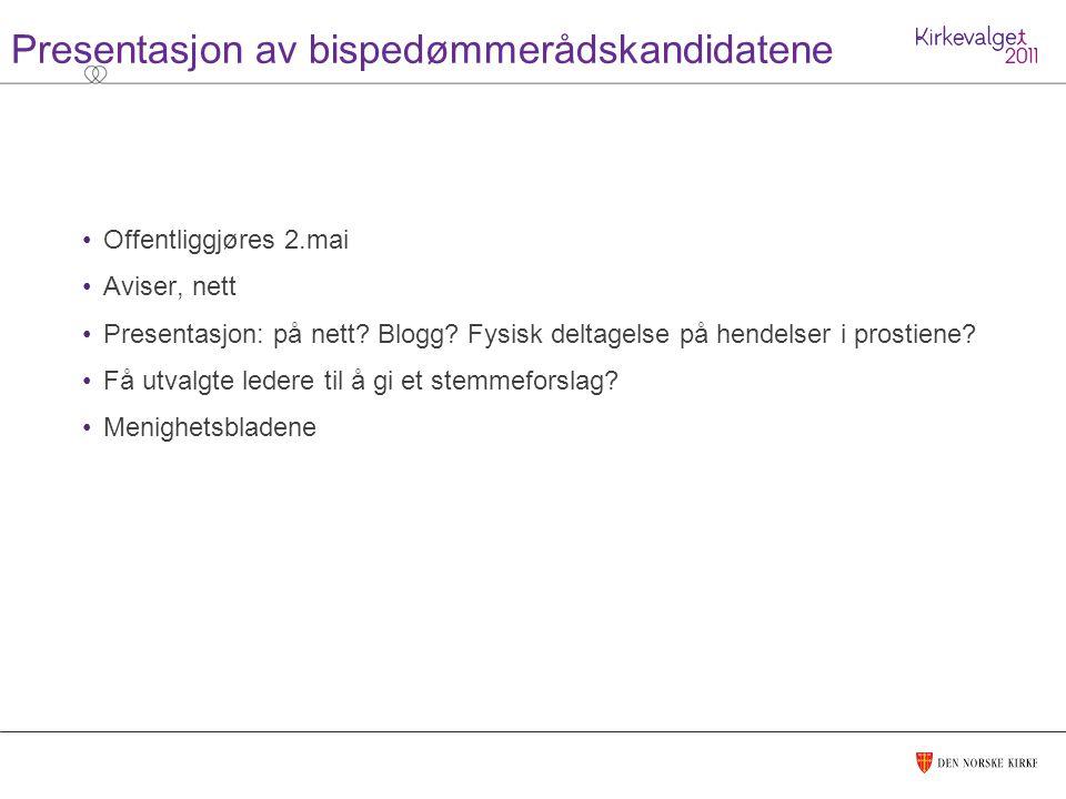 Presentasjon av bispedømmerådskandidatene Offentliggjøres 2.mai Aviser, nett Presentasjon: på nett.