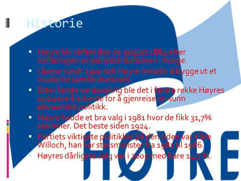 Historie HHøyre ble stiftet den 25.august 1884 etter innføringen av parlamentarismen i Norge. II årene rundt 1900 tok Høyre initiativ å bygge ut e