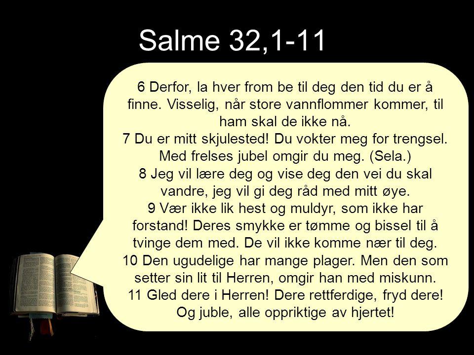 Salme 32,1-11 6 Derfor, la hver from be til deg den tid du er å finne. Visselig, når store vannflommer kommer, til ham skal de ikke nå. 7 Du er mitt s