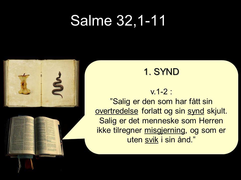 """Salme 32,1-11 1. SYND v.1-2 : """"Salig er den som har fått sin overtredelse forlatt og sin synd skjult. Salig er det menneske som Herren ikke tilregner"""