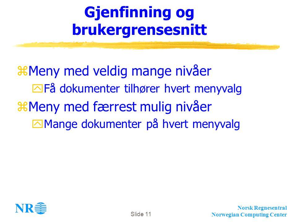 Norsk Regnesentral Norwegian Computing Center Slide 11 Gjenfinning og brukergrensesnitt zMeny med veldig mange nivåer yFå dokumenter tilhører hvert menyvalg zMeny med færrest mulig nivåer yMange dokumenter på hvert menyvalg